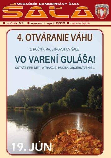 ročník XI. marec / apríl 2010 nepredajné MESAČNÍK ... - Mesto Šaľa