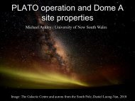 PLATO operation and Dome A site properties
