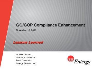 Lessons Learned - Entergy - Nov 2011 Compliance Seminar