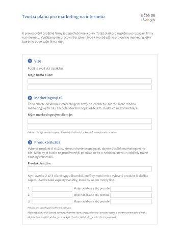Tvorba plánu pro marketing na internetu