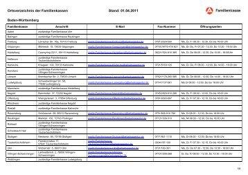 Ortsverzeichnis der Familienkassen - versorgungsaemter.de
