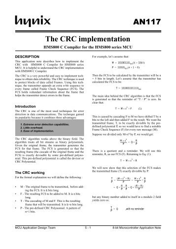 CRC-4 algorithm using in G.704(&G.706)