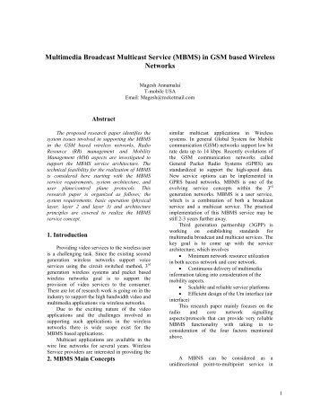 Multimedia Broadcast Multicast Service (MBMS) - 3G and 4G ...
