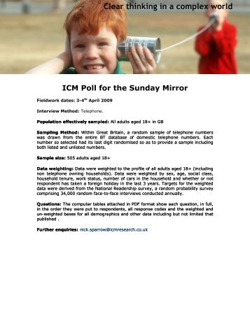 G20 poll for Sunday Mirror - ICM Research