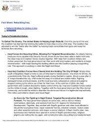 Fact Sheet: Rebuilding Iraq - MERLN