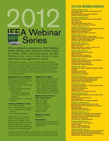 IFEA Webinar Series - International Festivals & Events Association