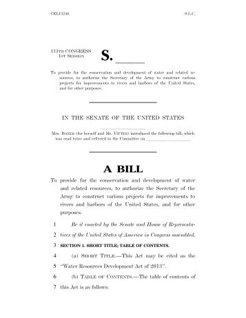 Water Resources Development Act - U.S. Senate Environment and ...