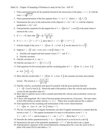 Math 2A – Chapter 10 Sampling of Problems to ... - Geofhagopian.net