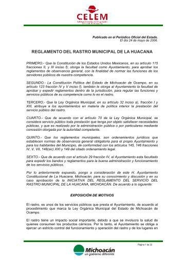 reglamento del rastro municipal de la huacana - Michoacán