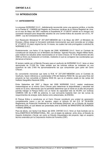 Cap 1 EIA PEC.Chocan - Introduccion - Ministerio de Energía y Minas