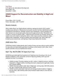 USAID Support for Reconstruction and Stability in Najaf ... - MERLN