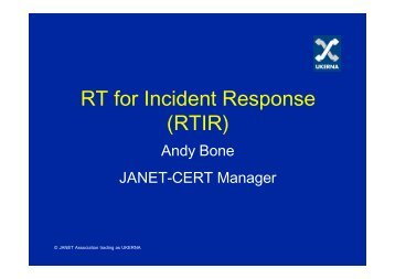 Update on RTIR working group - Terena