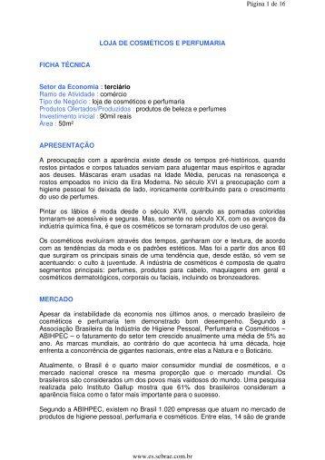 LOJA DE COSMÉTICOS E PERFUMARIA FICHA TÉCNICA Setor da ...