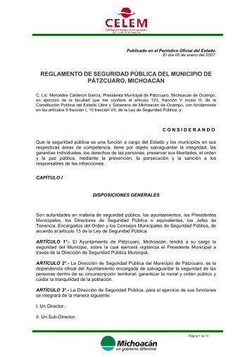 REGLAMENTO DE SEGURIDAD PÚBLICA DEL ... - Michoacán