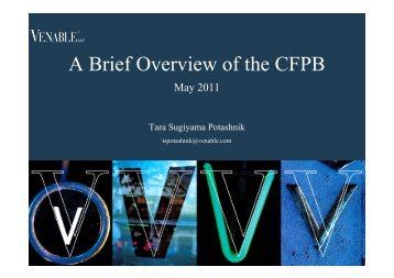 A Brief Overview of the CFPB - Venable LLP