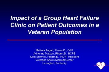Impact of a Group Heart Failure Clinic on Patient Outcomes ... - QUERI