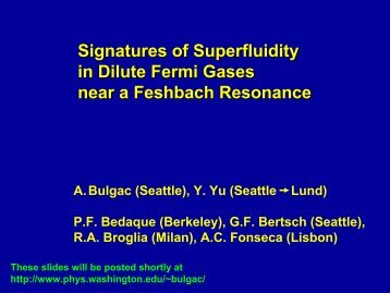 Signatures of Superfluidity in Dilute Fermi Gases near a Feshbach ...
