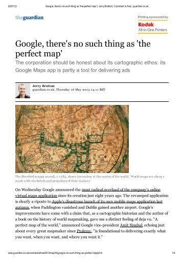 Google, there's no such thing as 'the perfect map' - Factum Arte