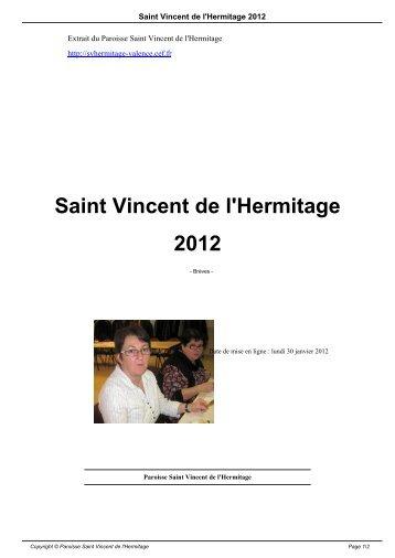 Saint Vincent de l'Hermitage 2012 - Paroisse Saint Vincent de l ...