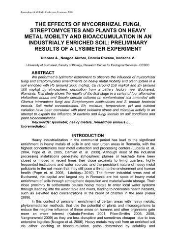 the effects of mycorrhizal fungi, streptomycetes and plants ... - CESEC