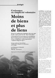Moins de biens et plus de liens - les Amis de la Terre-Belgique