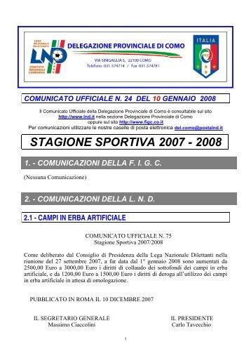 COMUNICATO n.24 del 10/01/2008 - FIGC