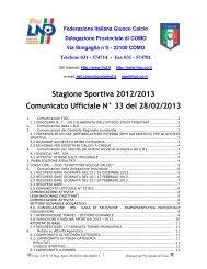 COMUNICATO n.33 del 28/02/2013 - FIGC