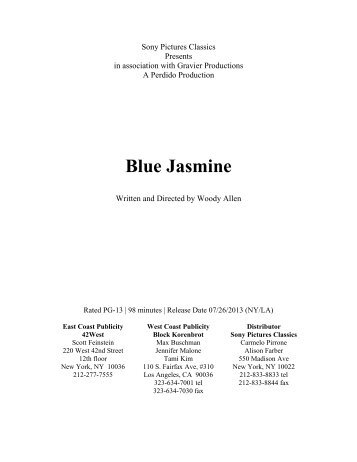 Blue Jasmine Press Kit - Sony Pictures Classics
