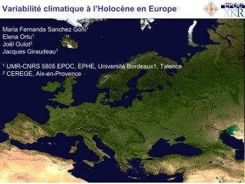 Variabilité climatique à l'Holocène en Europe