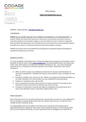 Directeur Marketing Internet - CODAGE - IIM