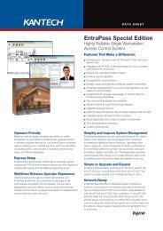 EntraPass v4.01 Special Edition Data Sheet - English A4 - Kantech