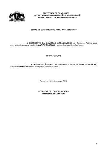 Presidente da Comissão - Prefeitura de Guarulhos