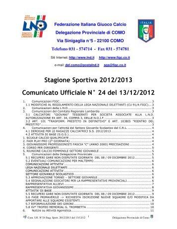 COMUNICATO n.24 del 13/12/2012 - FIGC