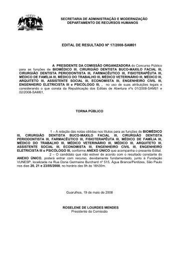 EDITAL DE RESULTADO 17 2008-SAM01