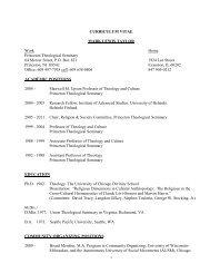 CURRICULUM VITAE - Princeton Theological Seminary