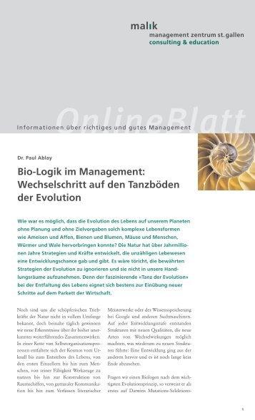 Wechselschritt auf den Tanzböden der Evolution - Malik Management