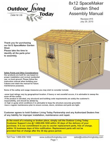8x12 SpaceMaker Garden Shed Assembly Manual - Shed Town USA