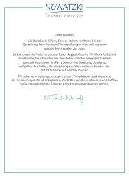 Party Mappe - Fleischerei und Partyservice Nowatzki