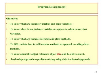 Classes and Objects - Program Development