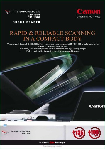 rapid & reliable scanning in a compact body - Canon in South and ...