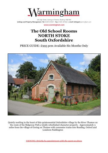 The Old School Rooms NORTH STOKE South ... - Warmingham