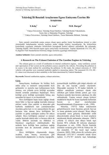 Tekirdağ İli Benzinli Araçlarının Egzoz Emisyonu Üzerine Bir Araştırma