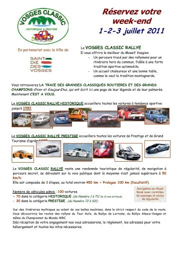 Présentation Vosges Classic - Est Rallye