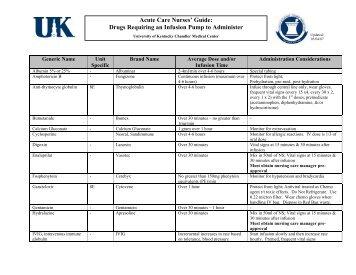 Acute Care Nurses' Guide - University of Kentucky