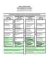 small farm school 2012 workshop schedule - Oregon Small Farms