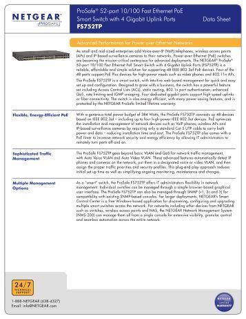 ProSafe® 52-port 10/100 Fast Ethernet PoE Smart Switch ... - Netgear