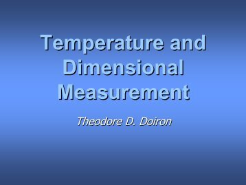 Temperature and Dimensional Measurement - Engineering ...