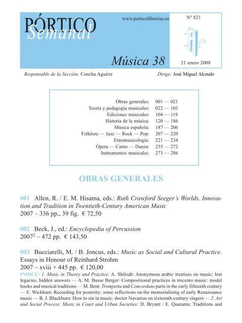 Portico Semanal 821 Musica 38 Pã Rtico Librerãas
