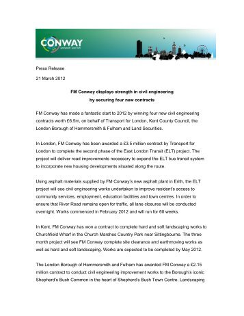 securing four new contracts. - FM Conway