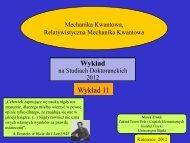 Wykład 11 - Uniwersytet Śląski